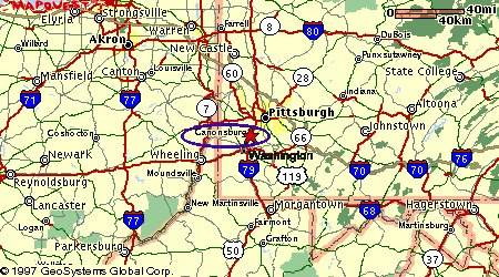 Antiques In Pennsylvania Canonsburg The City Of Antiques Map